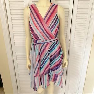 Jennifer Lopez Faux Wrap Striped Dress Pink Small
